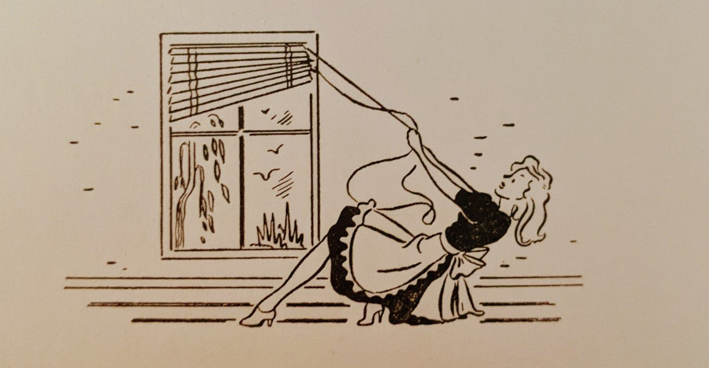 Woman pulling blinds
